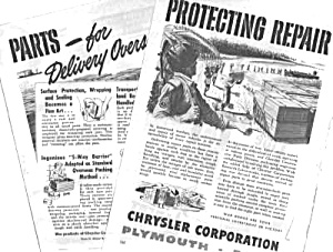 1943 CHRYSLER PLYMOUTH DODGE WWII Wartime Ad (Vintage Car