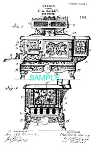 Patent Art: 1890s TOY CAST IRON STOVE ..The Rival
