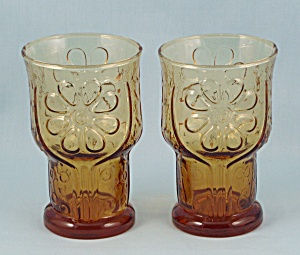2 Juice Tumblers Libbey Glass Country Garden Amber Drinking Glasses At Tipp Eclectics