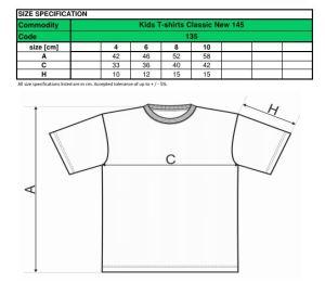 tabel marimi tricouri copii
