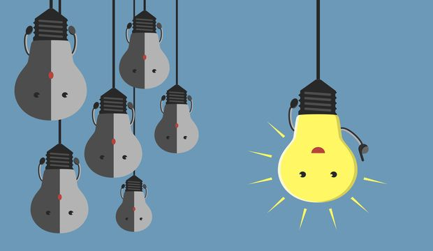 Inspired glowing light bulb character in moment of insight hanging beside many gray dull ones. Innovation motivation insight inspiration concept. EPS 10 vector illustration no transparency