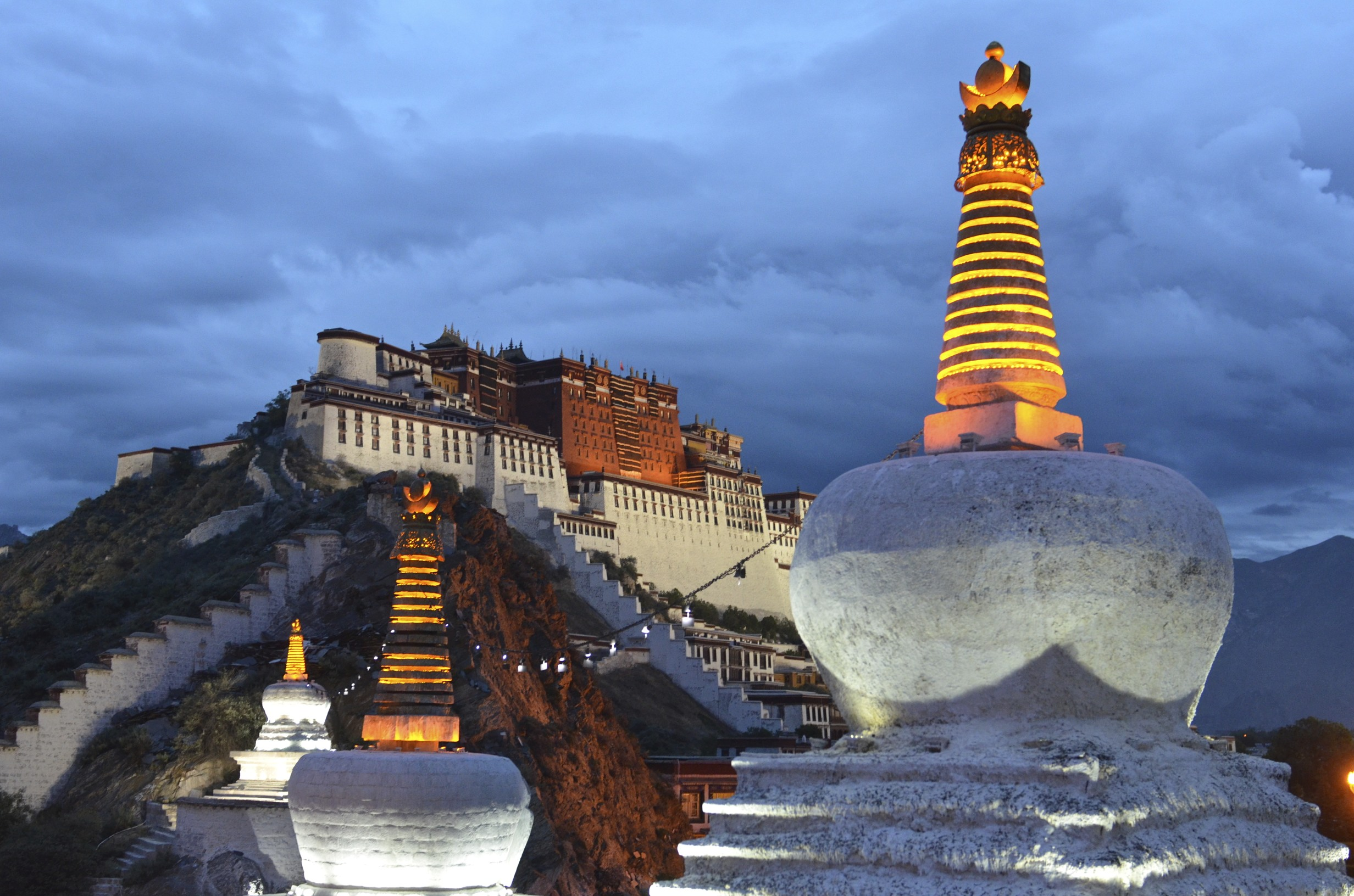 The Potala Palace in Lhasa, Tibet was the chief residence of the Dalai ...
