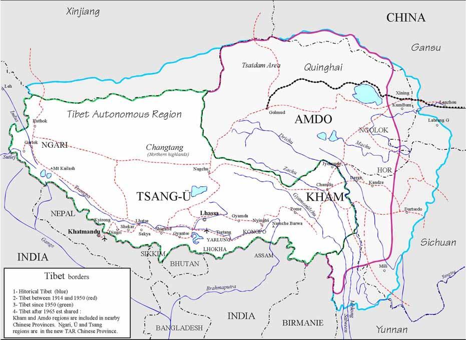 Les frontières orientales du Tibet étaient marquées par les fleuves Salouen (Gyelmo Ngülchu), Yangtse (Drichu) ou Mékong (Dzachu) © Tibet Map Institute