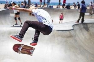 having fun skateboarding