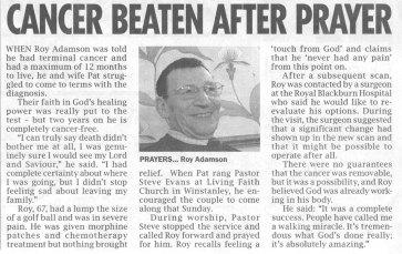 Cancer Beaten After Prayer