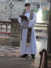 Bishop Steven preaching at St. David's Cathedral, Wales (Many people have commented on the Angel shaped light on the High Altar)