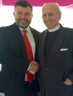 "Bishop Steven was delighted to meet with his old minister Revd. David Caldwell on a visit to Wales in 2016. Revd Caldwell was the minister of the church where he became a Christian at age 15. Bishop Steven commented ""Reverend Caldwell is an inspiration, full of life both then and now, a life dignified with the filling of the Holy Spirit. What a joy it is for me personally to welcome such an inspirational figure to join TICCN."""