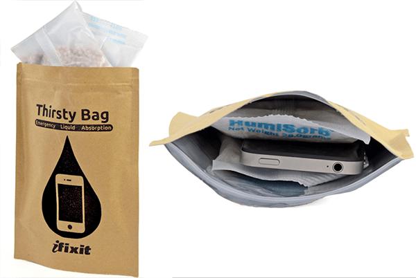 ifixit thirsty bag - كيس شفط الماء من جهاز الايفون