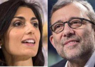Una foto combo mostra il candidato sindaco del M5S Virginia Raggi (S) e il candidato sindaco del centrosinistra, Roberto Giachetti (D). ANSA