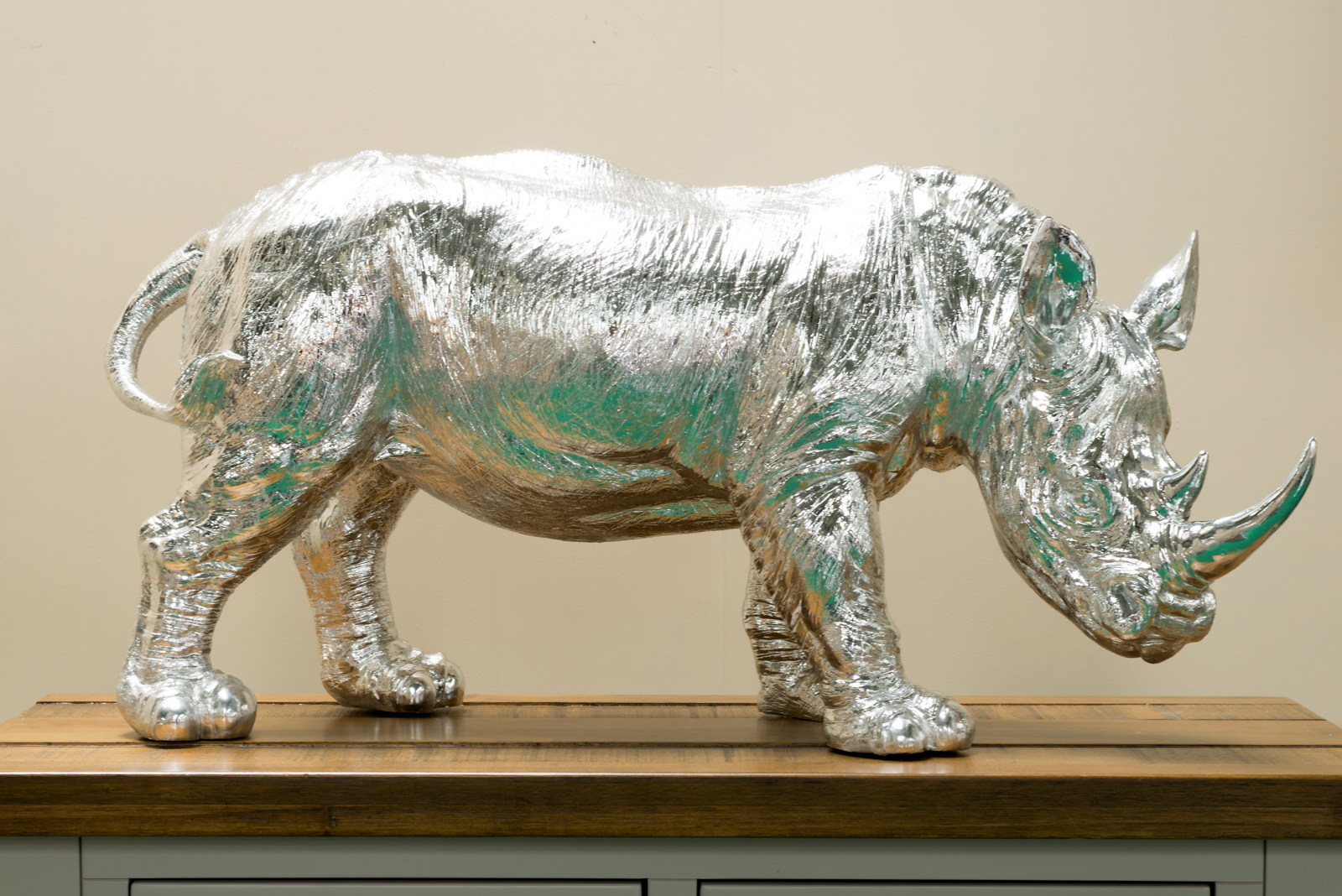 Rhino Sculpture Silver Tickety Boo Home Interiors