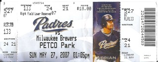 Brewers at Padres 2008 stub