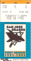 1992 San Jose Sharks ticket stub vs Capitals