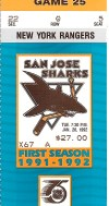 1992 San Jose Sharks ticket stub vs Rangers