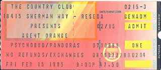 Agent Orange at the Country Club stub