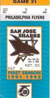 1992 San Jose Sharks ticket stub vs Flyers