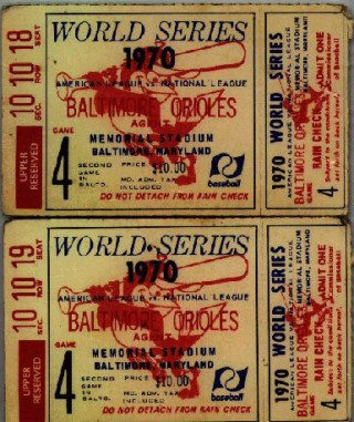 1970 World Series Game 4 ticket stubs Reds at Orioles