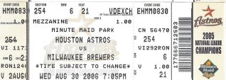 Brewers at Astros 2006 stub