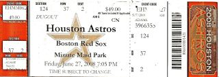 Red Sox at Astros 2008 stub