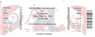 2010 Hickory Crawdads ticket stub vs Greenville