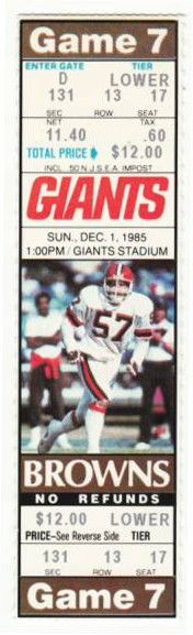 Browns at Giants 1985 stub