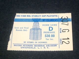 Oilers at Islanders Finals 1984  stub