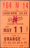 1963 Sandy Koufax 2nd No Hitter ticket stub