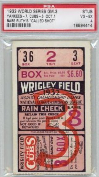 1932 World Series Yankees Cubs Called Shot stub