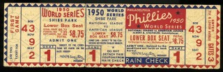 1950 World Series Game 1 Full Ticket Yankees vs Phillies