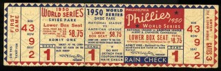1950 World Series Yankees at Phillies stub