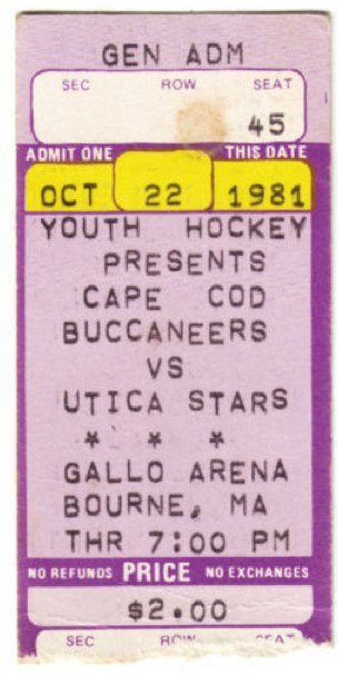 1981 ACHL Stars at Buccaneers stub