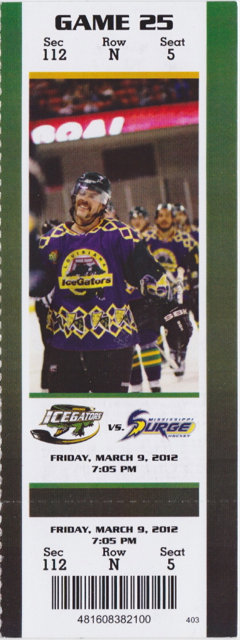 2012 SPHL Louisiana IceGators ticket stub vs Mississippi