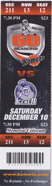 2011 CHL Ft Wayne Komets ticket stub vs Evansville