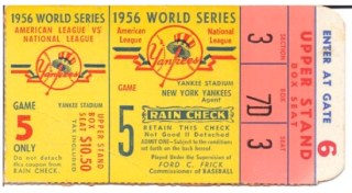 1956 World Series Gm 5 Dodgers at Yankees  stub