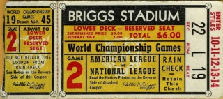 1945 World Series Game 2 Ticket Stub Cubs at Tigers