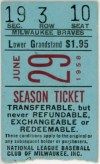 1958 Hank Aaron Home Run 124 ticket stub