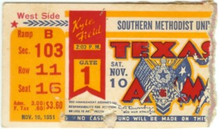 1951 NCAAF SMU at Texas A and M stub