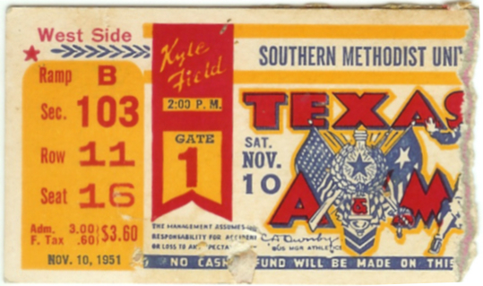 1951 NCAAF SMU at Texas A and M ticket stub