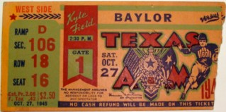 1945 Baylor at Texas A & M stub