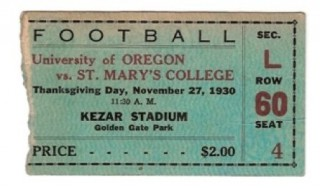 1930 NCAAF Oregon at St Marys Kezar Stadium