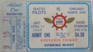 1969 White Sox at Seattle Pilots Opening Day stub