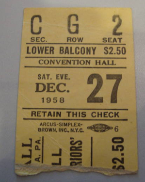 1958 NBA PHILADELPHIA WARRIORS vs HAWKS stub