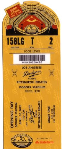 2012 Pirates at Dodgers Opening Day stub