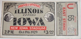 1929 NCAAF Illinois at Iowa stub