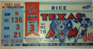 1946 NCAAF Rice at Texas A and M stub