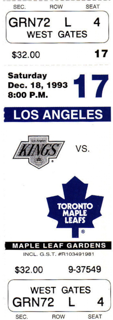 1993 Kings at Maple Leafs stub