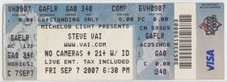 2007 Steve Vai House of Blues stub
