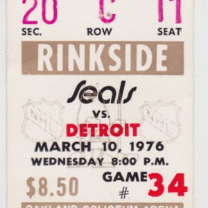 1976 California Golden Seals ticket stub vs Red Wings