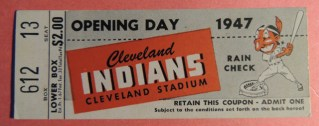 1947 White Sox at Cleveland Indians Opening Day stub