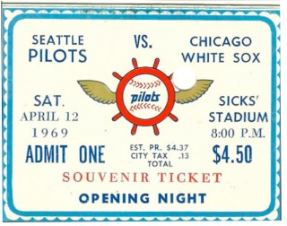1969 White Sox at Pilots Opening Day stub