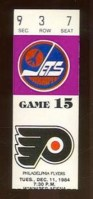 1984 Winnipeg Jets ticket stub vs Flyers